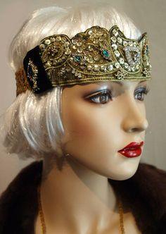 Vintage 1920's 30s Look Flapper Headband Hat Headpiece Stage Flapper Speakeasy