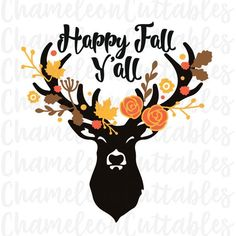 happy fall y'all, svg, deer, autumn, antlers, floral, flourishes, flowers, leaves, vector, decal, cut, file, silhouette, pillow, clipart
