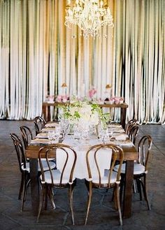 this gorgeous ribbon wall backdrop makes this reception area fun and romantic! come see more ribbon ideas here! http://su.pr/1HYfdu #wedding #DIY; photo by Jose Villa