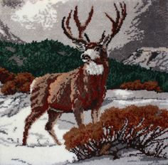 """Majestic Deer latch hook rug kit. Finished size 49 x 47"""" (124.5 x 119.4 cm). Kit contains 3.3 mesh rug canvas, pre-cut acrylic rug yarn (2 x 3 ply equivalent to 6 ply) chart and complete instructions."""