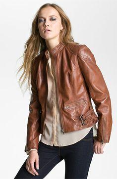 Velvet Heart Quilt Trim Leather Jacket | Nordstrom