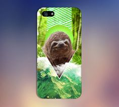Geometric Nature Sloth x Green Mountains Phone Case for iPhone and Samsung