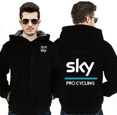 Dropshipping Team Sky Mens Hoodies Zipper Sweatshirt Jacket Winter Warmth Fleece Thicken Jacket Coat Tour de France Pro Cycle