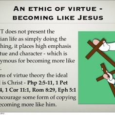 An ethic of virtue - becoming like Jesus The NT does not present the Christian life as simply doing the right thing, it places high emphasis on virtue and c. http://slidehot.com/resources/rae-moral-choices-ch2-christian-ethics-part-c.42294/