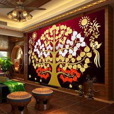 Wallpaper Mural Tricks: How to Choose and Install Peacock Wall Art, Tree Interior, Buddha Art, Buddha Painting, Bodhi Tree, Madhubani Art, House Plants Decor, Thai Art, India Art