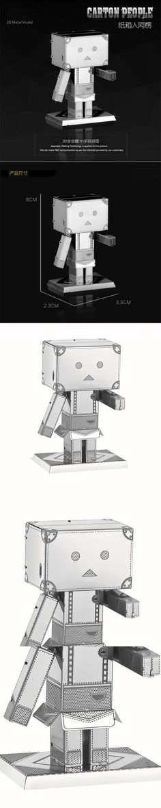 Cardboard box man 3D metal earth DIY crafts static model creative puzzle decorative toys home furnishings Collection Gift