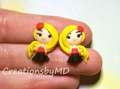 blonde girl stud earrings polymer clay fimo by CreationsbyMD