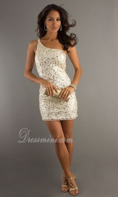 White One Shoulder Short/Mini Sequins Sparkly Homecoming Dress HD315B