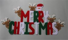 Merry Christmas Wall Hanging-Plastic Canvas Pattern or Kit in Crafts, Needlecrafts & Yarn, Embroidery & Cross Stitch, Hand Embroidery Cloth & Canvas, Plastic Canvas Plastic Canvas Letters, Plastic Canvas Coasters, Plastic Canvas Ornaments, Plastic Canvas Crafts, Free Plastic Canvas Patterns, Merry Christmas Sign, Plastic Canvas Christmas, Christmas Crafts, Christmas Patterns