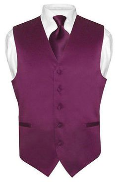 Mens-EGGPLANT-PURPLE-Tie-Dress-Vest-and-NeckTie-Set-for-Suit-or-Tuxedo