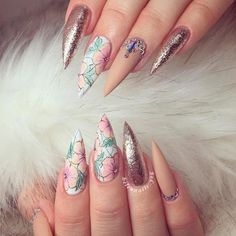 Glitter and Flowers - Girly Combo Nails Design! Best Stiletto Nails Designs Trends for You ★ See more: https://naildesignsjournal.com/stiletto-nails-designs-trends/ #nails
