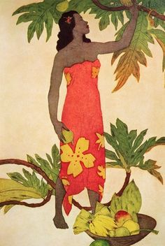 Photo of c.1940 Hawaiian Art by John Kelly, local woman picking breadfruit, menu cover