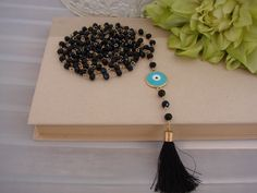 Greek Gold Tone Black Tear Drop Evil Eye  Necklace With Tassel by ForThatSpecialDay on Etsy