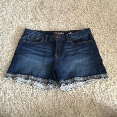 LICKY BRAND. Abbey short jean shorts! Great condition. Detail on bottom Lucky Brand Shorts Jean Shorts