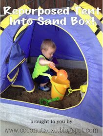 Coconut Love: Repurpose A Kids Tent Into A Sandbox. Or why not in the summer when its to hot in the sun.