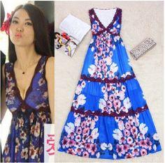 Free Shipping Holiday Style 2014 V-neck Peach Printed Lace Long Dress Beach Dress 140604YB03 $73.80