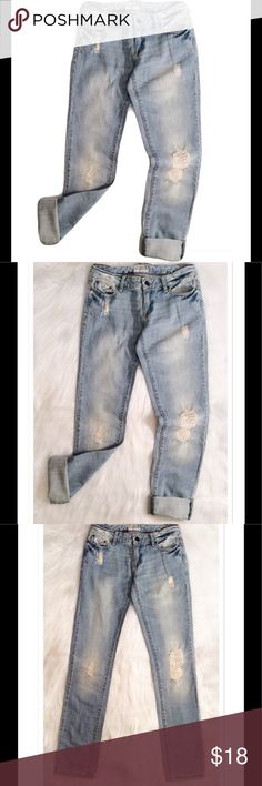 Aeropostale Distressed Boyfriend Jeans Aeropostale Bayla distressed boyfriend jeans. Size 0 Regular. 100% cotton. Has an initial written on inside tag, does not affect the wearability of the jeans. Aeropostale Jeans Boyfriend
