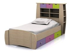 Sydney Single Cabin Bed - Pink and Maple - Girls Bed with Drawers and Storage Headboard
