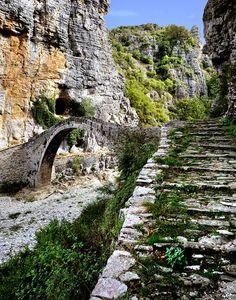 near Dilofo-Zagori, Epirus, Greece Myconos, Old Bridges, Places In Greece, Natural Scenery, Santorini Greece, Greece Travel, Greek Islands, Beautiful Islands, Crete