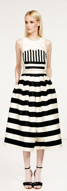 Make black & white work for all of your #holiday engagements this season thanks to Tibi's two piece 'Escalante' Silke Striped Cropped Top & A-Line Skirt.  #Style