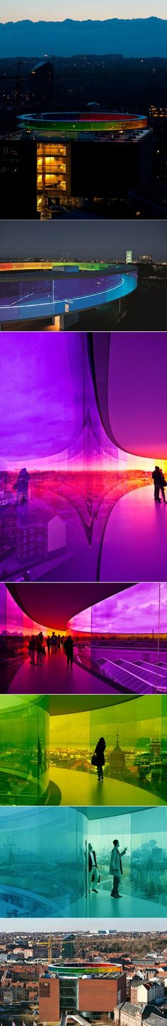 """Your rainbow panorama – Olafur Eliasson #modern #colorful #architecture  """"Your rainbow panorama establishes a dialogue with the existing architecture and reinforces what was already there, that is to say the view across the city. I have created a space that can almost be said to erase the boundary between inside and outside – a place where you become a little uncertain as to whether you have stepped into a work of art or into part of the museum..."""""""