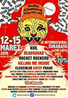 Indie Clothing Carnival 2015 12 – 15 Maret 2015 At JX International (Ex. Jatim Expo) – Surabaya 10.00 – 22.00 Disc Up To 70% http://eventsurabaya.net/indie-clothing-carnival-2015/