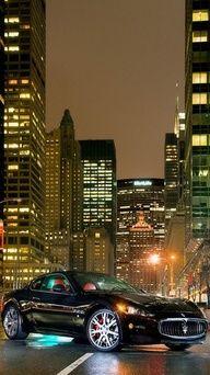 Maserati black at night