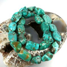 Blue - Green Turquoise Wild Nugget Gemstone Beads - Stabilised Real Hubei Turquoise