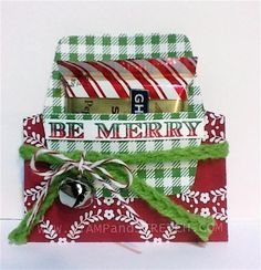 An Easy to Make holder for a Christmas Treat  http://www.stampandstretch.com/2014/11/trim-tree-dsp-ghirardelli-treat-holder.html