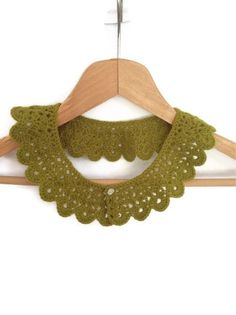 Green crochet collar, peter pan collar, lace collar, mustard, autumn, harvest,  collar necklace,Bridesmaid. $25.00, via Etsy.
