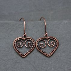 Hearts Made of Metal oOo Copper Earrings by AlaskaFirefly on Etsy, $30.00