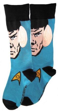 Star Trek SPOCK FACE WITH BIG EARS Blue/Black Crew SOCKS @ niftywarehouse.com #NiftyWarehouse #StarTrek #Trekkie #Geek #Nerd #Products