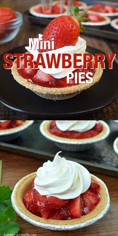 These Mini Strawberry Pies with a graham cracker crust are the perfect spring or summer dessert. They are so easy to make with just a few ingredients, Desserts Mini Strawberry Pies Mini Desserts, No Bake Desserts, Easy Desserts, Delicious Desserts, Yummy Food, Desserts With Strawberries Easy, Desserts For Summer, Mini Dessert Recipes, Mexican Desserts
