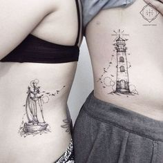 Lighthouse and Ship Unique Tattoos For Couples
