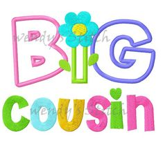 Big cousin applique machine embroidery digital by WendysStitch
