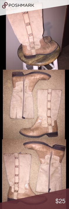 Nurture Derricka Boot Beautiful Distressed used condition. Medium height tan boots, Suede shaft and real leather boot. Small grommets for embellishment. Nurture Shoes Heeled Boots