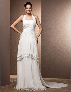 Two-In-One Sheath/Column Halter Floor-length Chiffon Wedding Dress