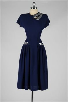 Vintage 1940s dress, blue rayon with silver leaf sequins, via millstreetvintage