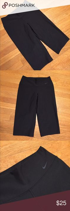 Nike Dri-Fir legendary capris pants These are a pair of black capris workout pants from Nike, legendary pants, logo on front and pocket in waistband. Waist 28 inches, inseam is 15 1/2. Good condition minor wear. Be sure and check out other items in closet and bundle to receive discounts. Nike Pants Capris