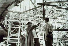 Frank Lloyd Wright viewing construction of the Solomon R. Guggenheim Museum, New York, 1956