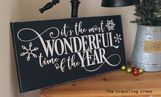 It's the most wonderful time of the year wood sign, Christmas farmhouse sign, modern farmhouse stye sign, Wall saying, approx Christmas Signs, Christmas Projects, Christmas Holidays, Christmas Ideas, Merry Christmas, Holiday Decorations, Holiday Crafts, Holiday Ideas, Recycled Gifts