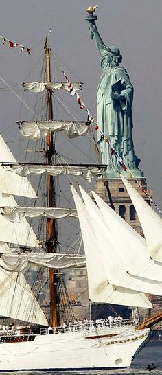 From parade of tall ships in NY harbor.  Either 1976 bicentennial or in 1986.  Not my pic but I was there for both.  Unforgettable spectacular