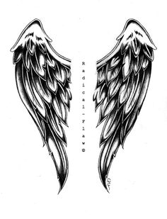 angel wing drawings | Angel Wings by RadicalFlaw