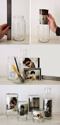 Fotorahmen mit recyceltem Glas und Fotos, … - Best Diy Home Crafts Home Crafts, Fun Crafts, Diy And Crafts, Cadre Photo Original, Glass Jars, Mason Jars, Diy Room Decor, Home Decor, Recycled Glass