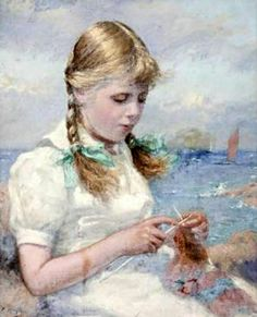 young girl knitting by the sea