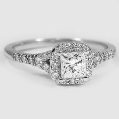 18K White Gold Harmony Ring // Set with a 0.50 Carat, Princess, Ideal Cut, F Color, VVS2 Clarity Diamond #BrilliantEarth