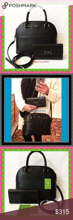 "Authentic Kate Spade Black Leather Bag & Wallet AUTHENTIC. Beautiful black leather handbag and zippy wallet from Kate Spade. Bag approximate measurements: 11.5 x 8.5"" 5"" Top handle, crossbody & shoulder bag! Detachable & adjustable long strap. 3 pockets inside. Zipper top closure. Wallet: almost 8"" x 4"" w/ lots of compartments for your cash & cards. Both new w/ tags. No trade ❌ PRICE FIRM ‼️ kate spade Bags"