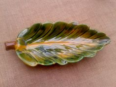 Yellow Leaf Dish French Pottery Vallauris Handmade Handpainted Yellow Green Brown  French Provence Vallauris Ceramic Marked - Nature I 1960 46 E