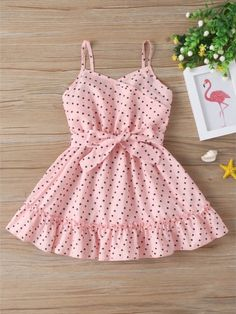 Little Girl Belted Pink Cami Dress Girls Frock Design, Kids Frocks Design, Baby Frocks Designs, Baby Dress Design, Baby Design, Baby Girl Frocks, Frocks For Girls, Toddler Girl Dresses, Little Girl Dresses