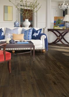 """Palmetto Road Distressed Hickory collection in """"Litchfield."""" Distressed Hickory is character grade hardwood flooring that is lightly wire-brushed to preserve the natural beauty of its cracks & knots. Each plank's edges & ends are also distressed by hand, creating a look that beautifully balances smoothness & character on this 4""""/5""""/6"""" variable width product."""